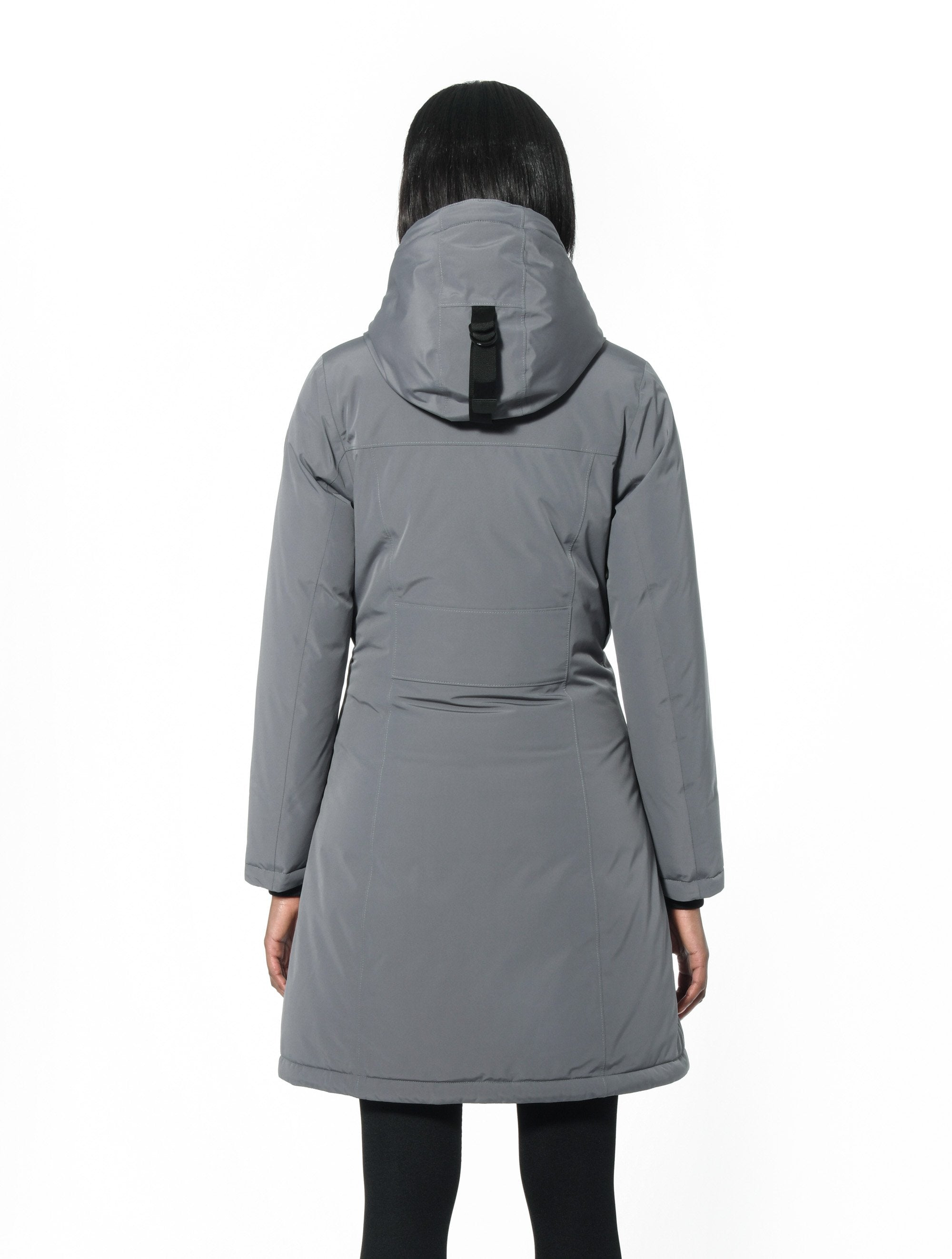 Ladies thigh length down-filled parka with non-removable hood in Concrete | color