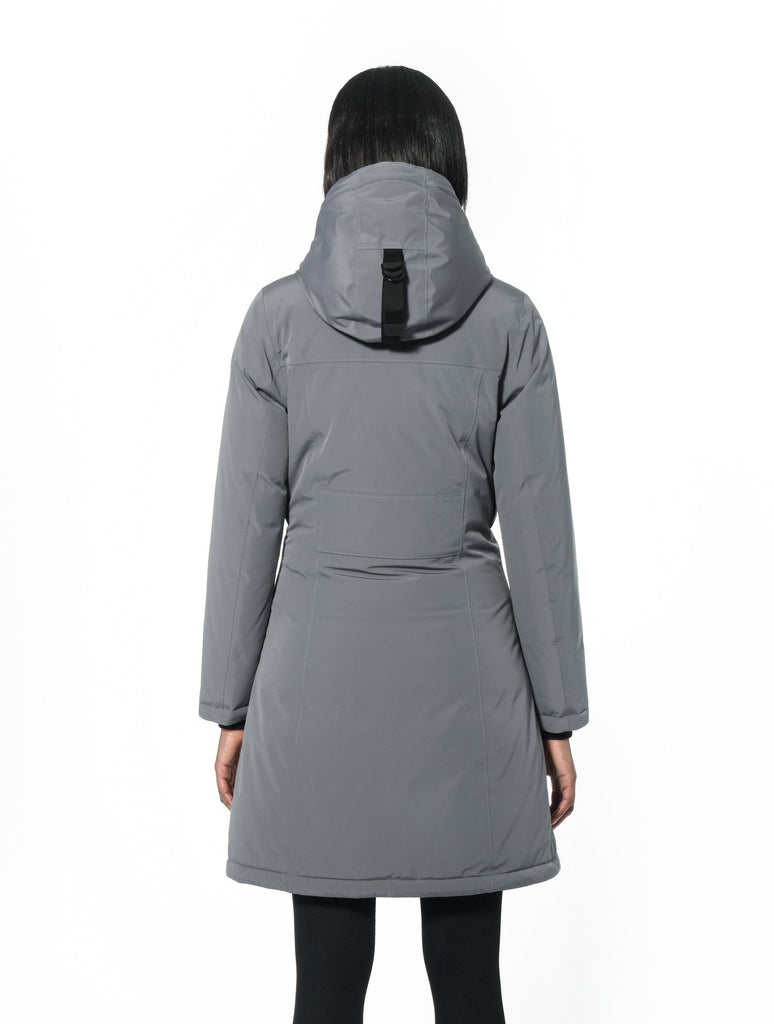 Ladies thigh length down-filled parka with non-removable hood in Concrete| color