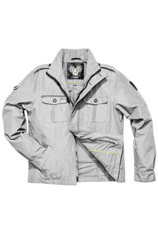 Men's waist length military style jacket in Light Grey.