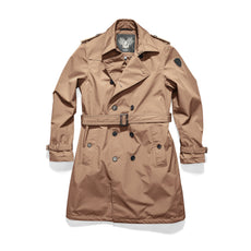 Men's thigh length trench coat with removable belt in Fawn