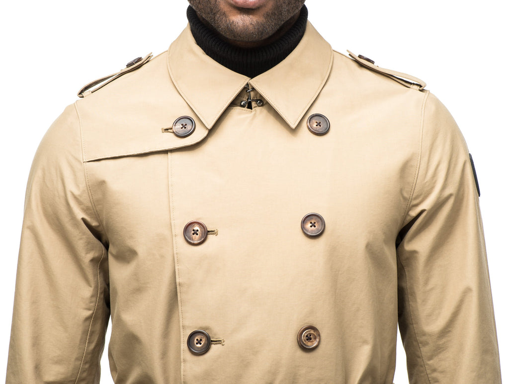 Men's thigh length trench coat with removable belt in Cork| color
