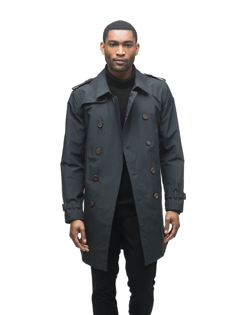 Men's thigh length trench coat with removable belt in Black| color