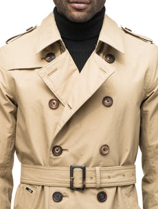Men's thigh length trench coat with removable belt in Cork