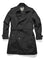 Men's thigh length trench coat with removable belt in Black | color