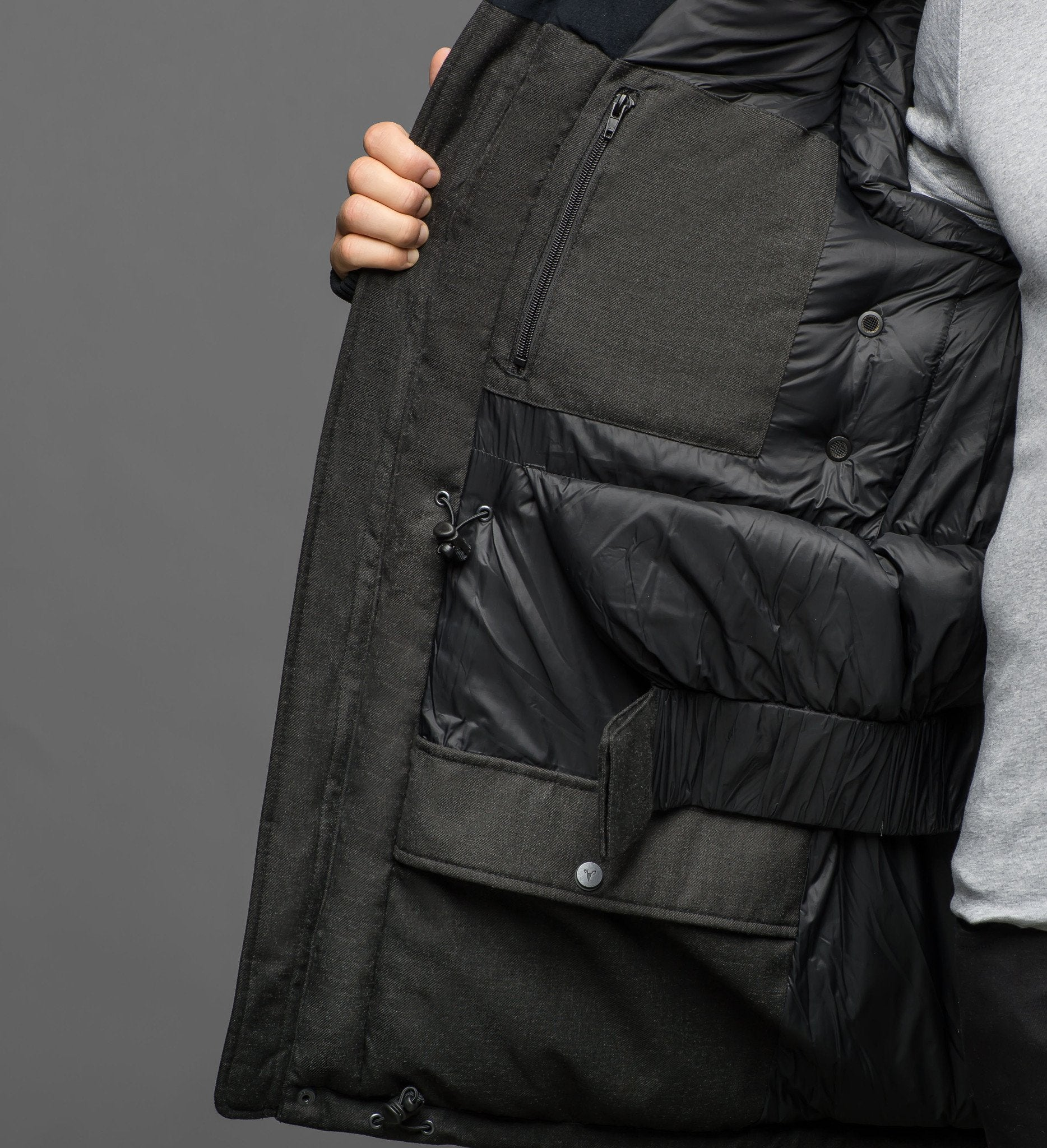 Men's extreme wamrth down filled parka with baffle box construction for even down distribution in H. Charcoal or H. Red | color