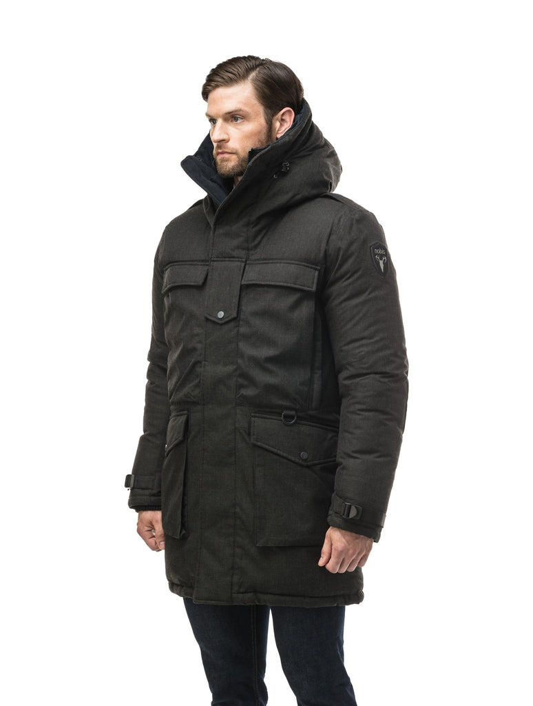 Men's extreme wamrth down filled parka with baffle box construction for even down distribution in H. Black| color