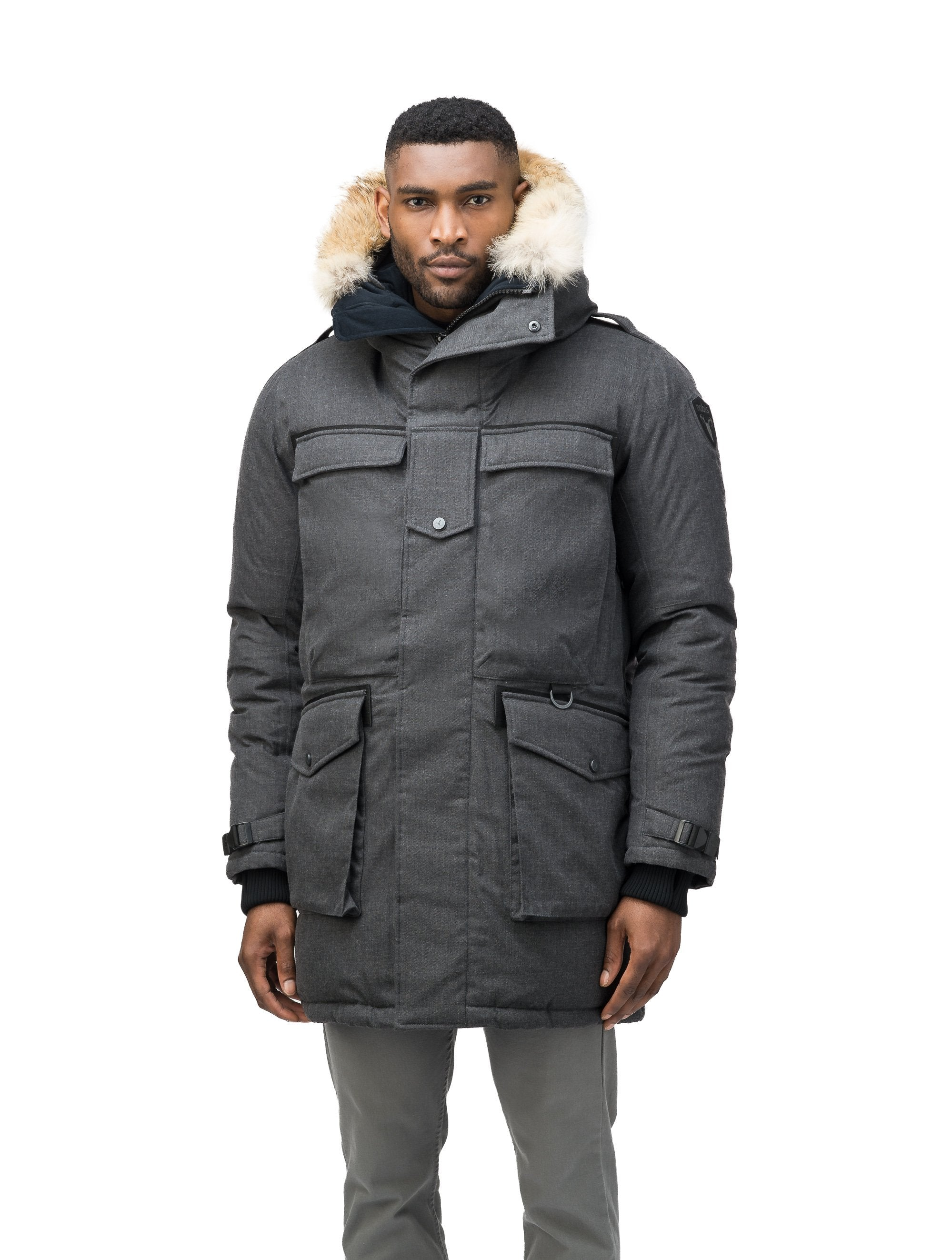 Men's extreme wamrth down filled parka with baffle box construction for even down distribution in H. Charcoal | color