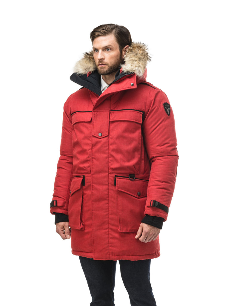 Men's extreme wamrth down filled parka with baffle box construction for even down distribution in H. Red| color