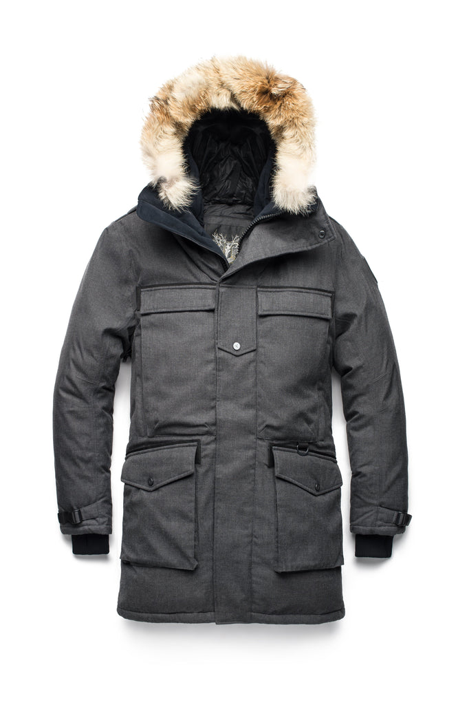 Men's extreme wamrth down filled parka with baffle box construction for even down distribution in H. Charcoal| color