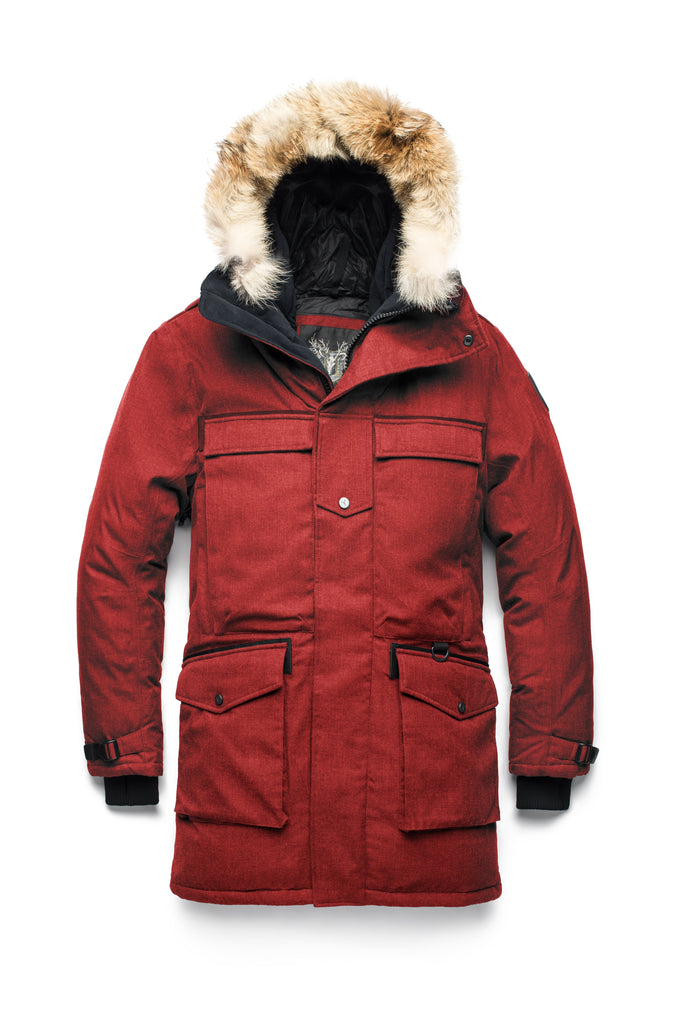 Men's extreme wamrth down filled parka with baffle box construction for even down distribution in H Red| color