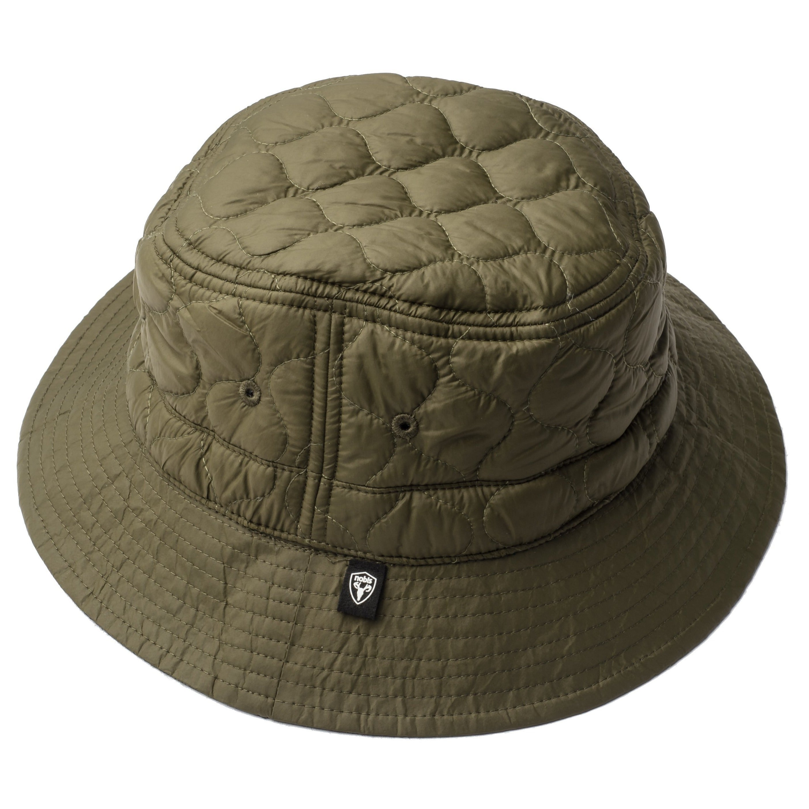 Reversible bucket hat in Fatigue color with one quilted side and one wool tweed side | color