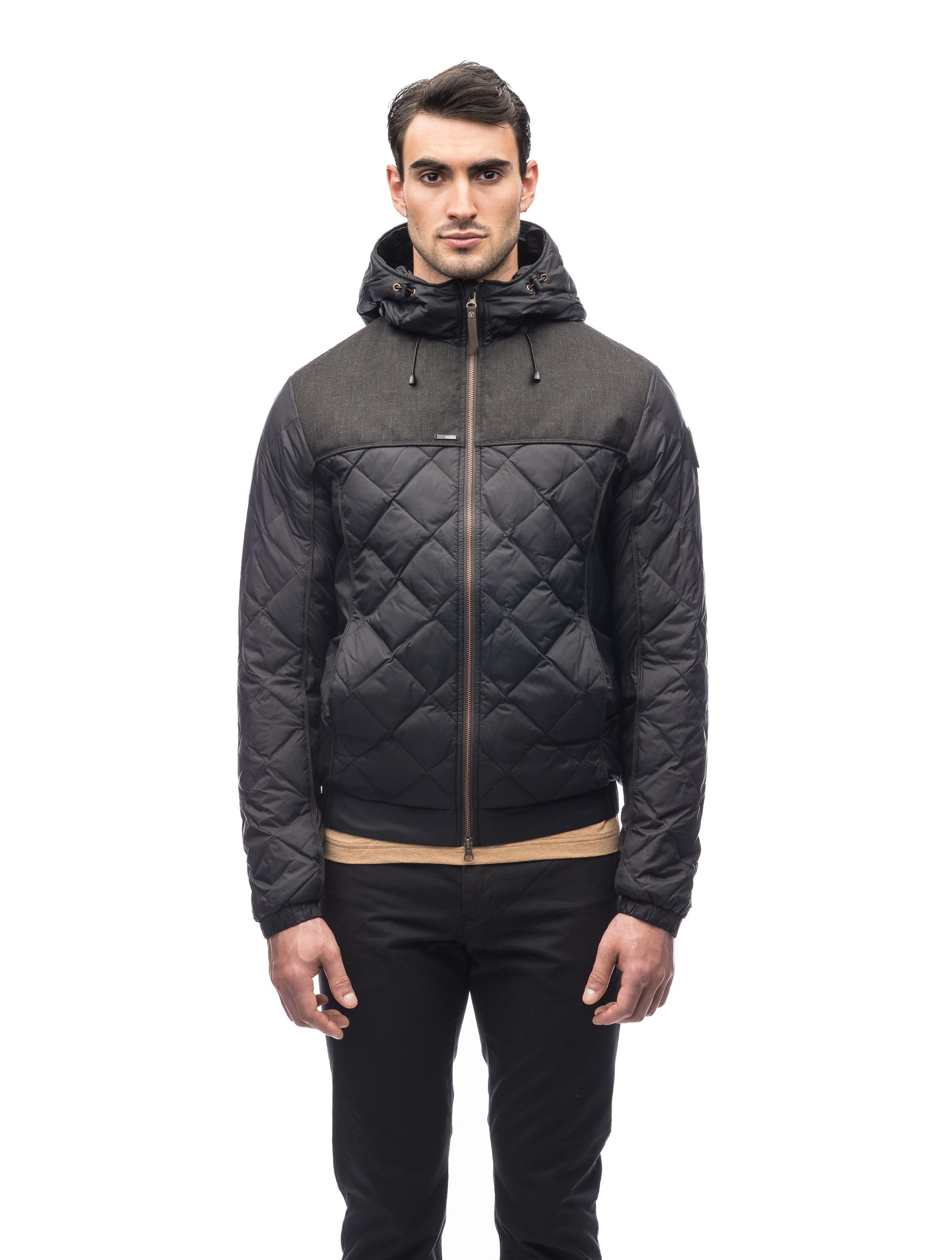 Men's lightweight quilted down hoodie in Black/H. Black | color