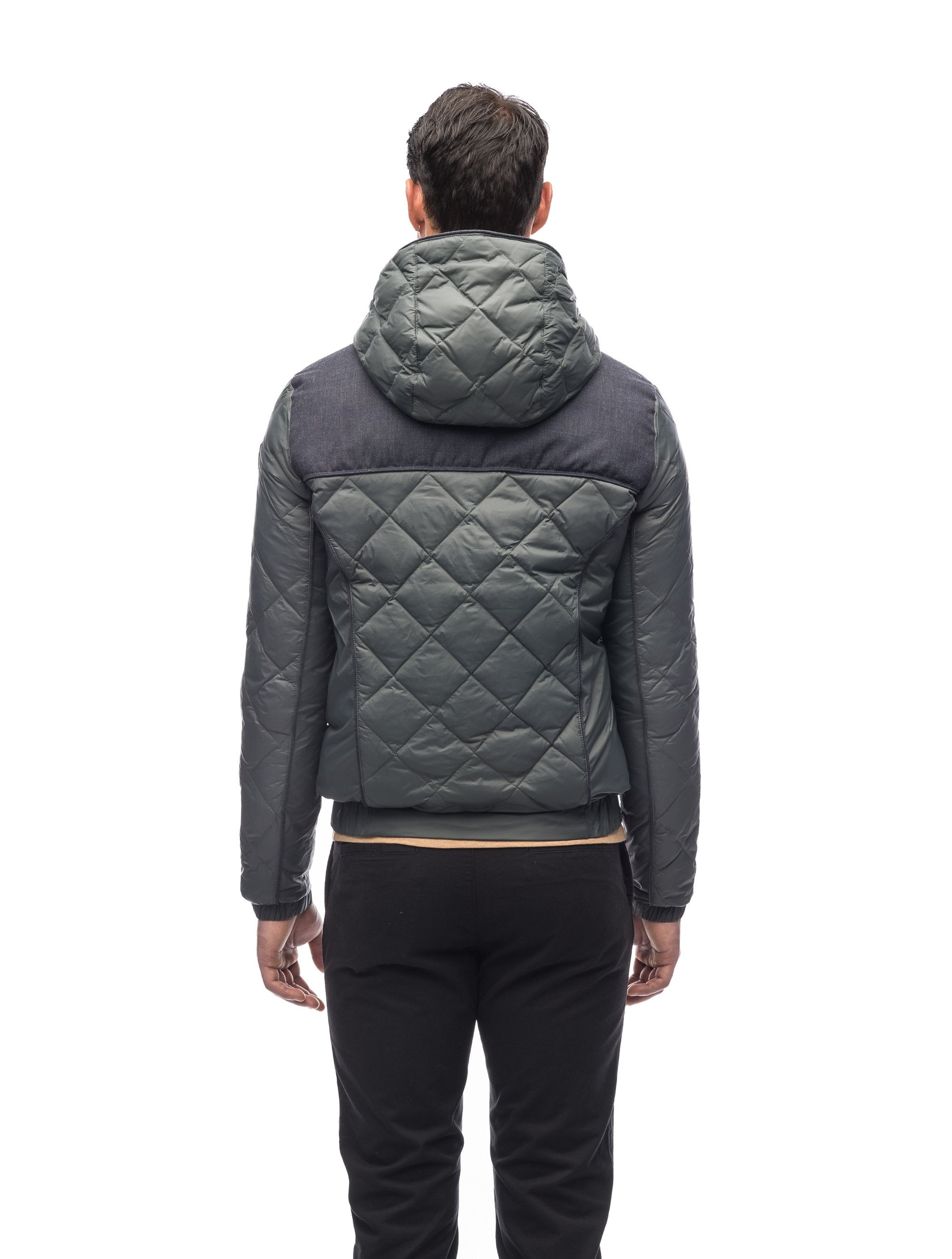 Men's lightweight quilted down hoodie in Foggy Blue/H. Navy | color