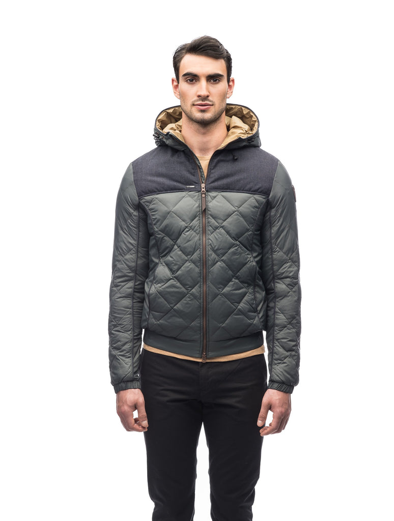 Men's lightweight quilted down hoodie in Foggy Blue/H. Navy| color