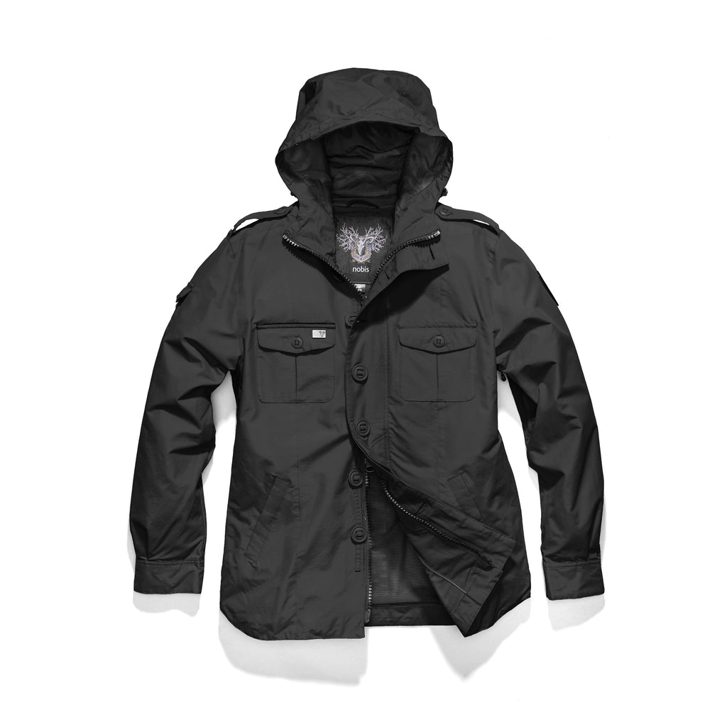 Men's hooded shirt jacket with patch chest pockets in Black | color