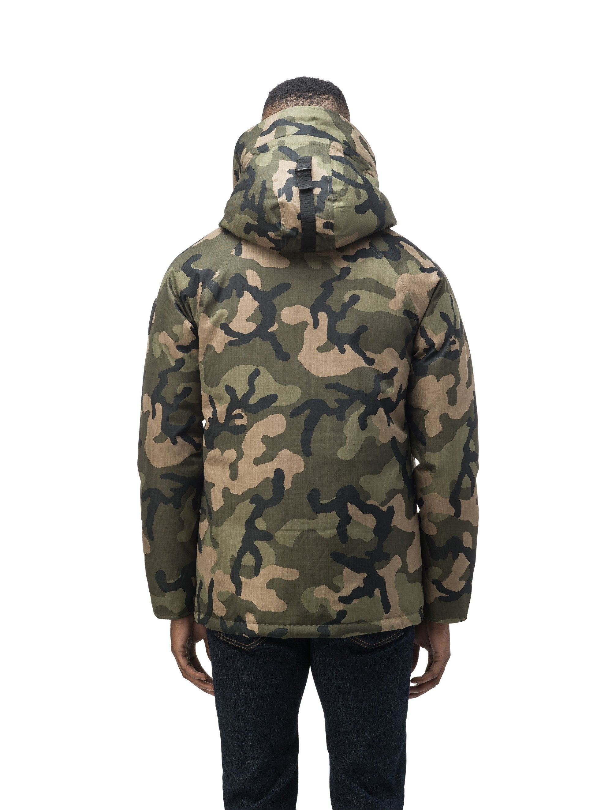 Men's waist length down filled jacket with two front pockets with magnetic closure and a removable fur trim on the hood in CH Camo | color