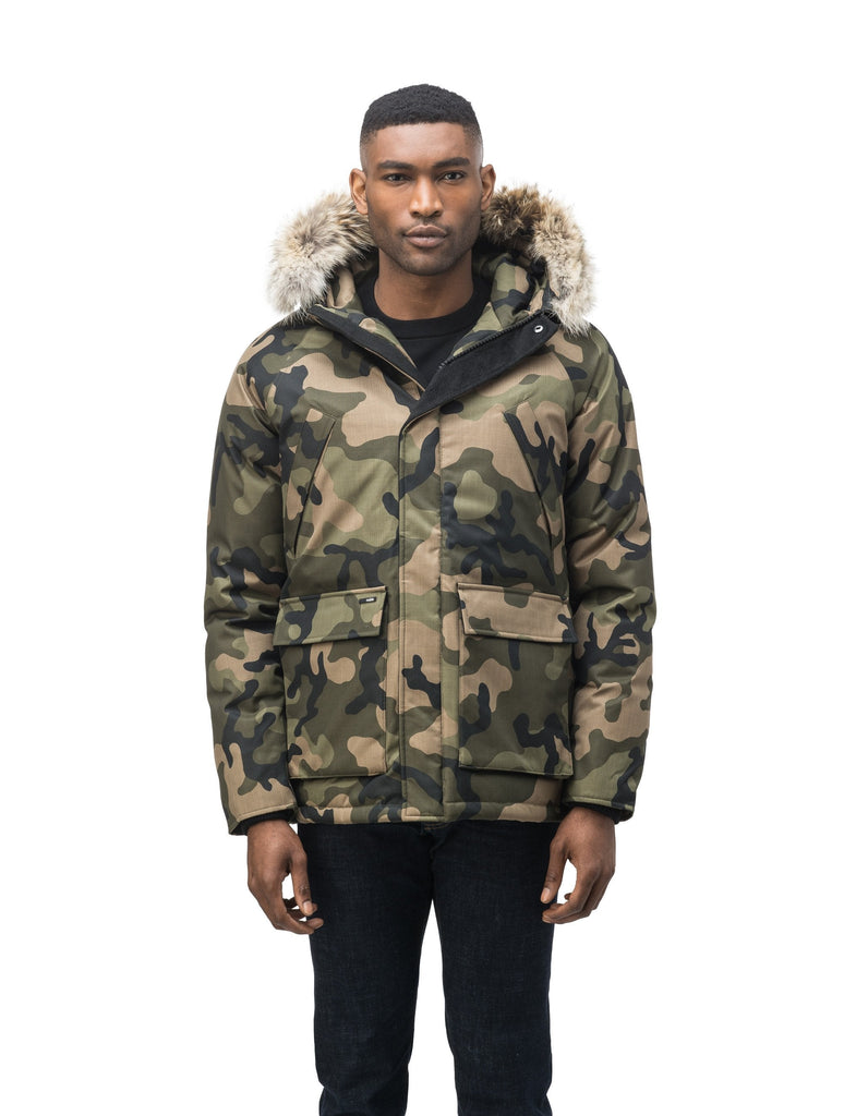 Men's waist length down filled jacket with two front pockets with magnetic closure and a removable fur trim on the hood in CH Camo| color