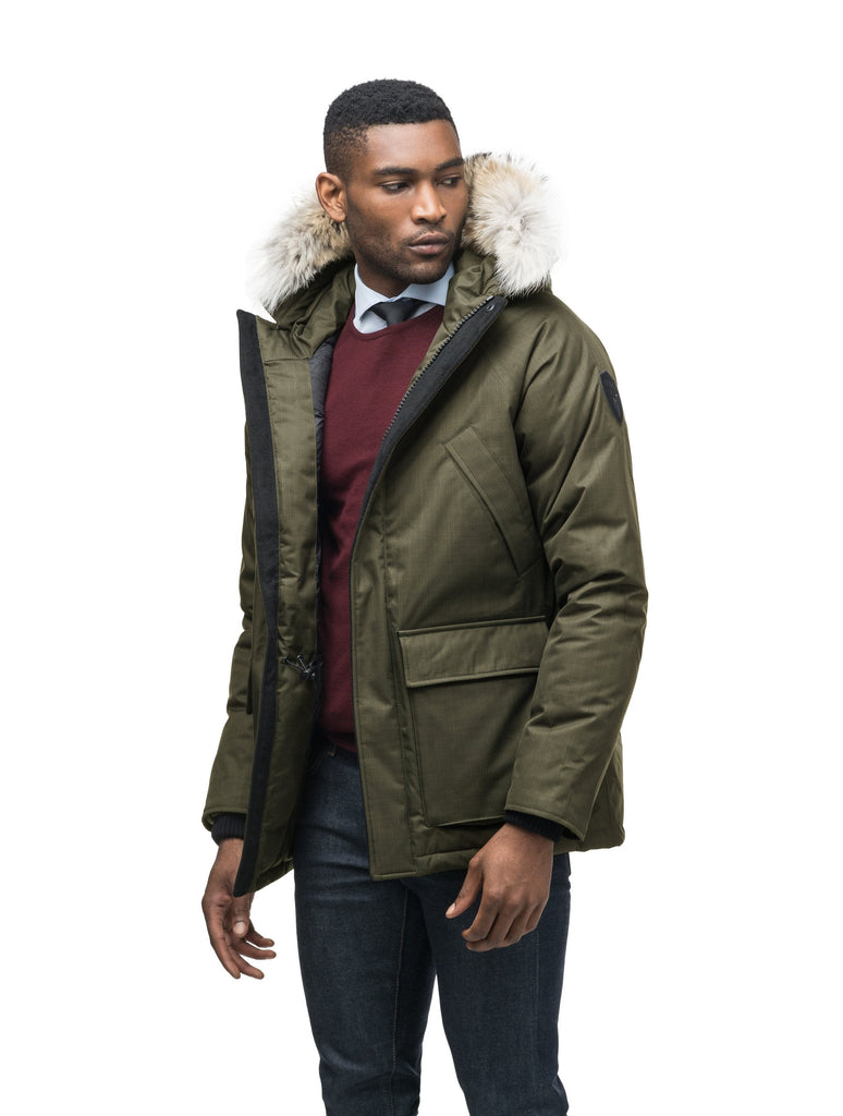 Men's waist length down filled jacket with two front pockets with magnetic closure and a removable fur trim on the hood in CH Fatigue| color