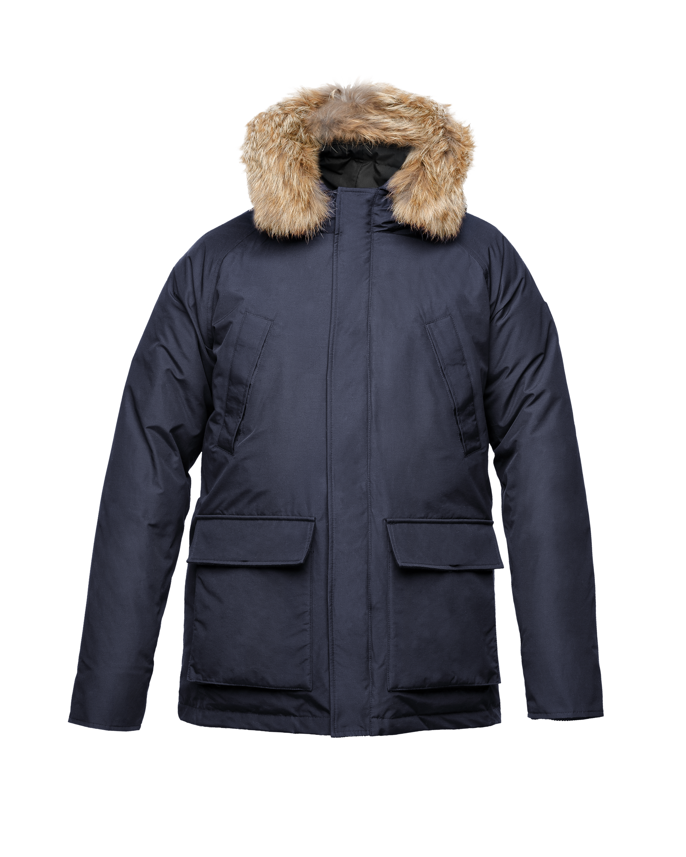 Men's waist length down filled jacket with two front pockets with magnetic closure and a removable fur trim on the hood in CH Navy | color