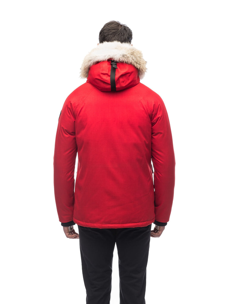 Men's waist length down filled jacket with two front pockets with magnetic closure and a removable fur trim on the hood in CH Red| color