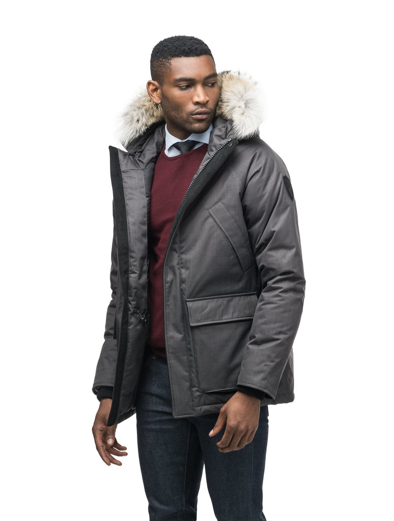 Men's waist length down filled jacket with two front pockets with magnetic closure and a removable fur trim on the hood in CH Steel Grey| color