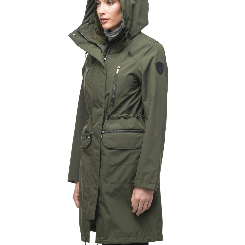 Women's knee length anorak with four front pockets and adjustable cord waist in Fatigue | color