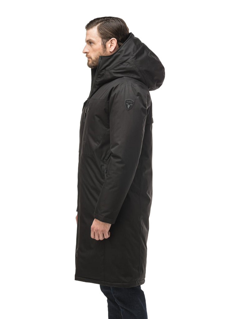 Long men's calf length parka with down fill and exposed zipper that features spacious pockets and zippered vents in Black| color