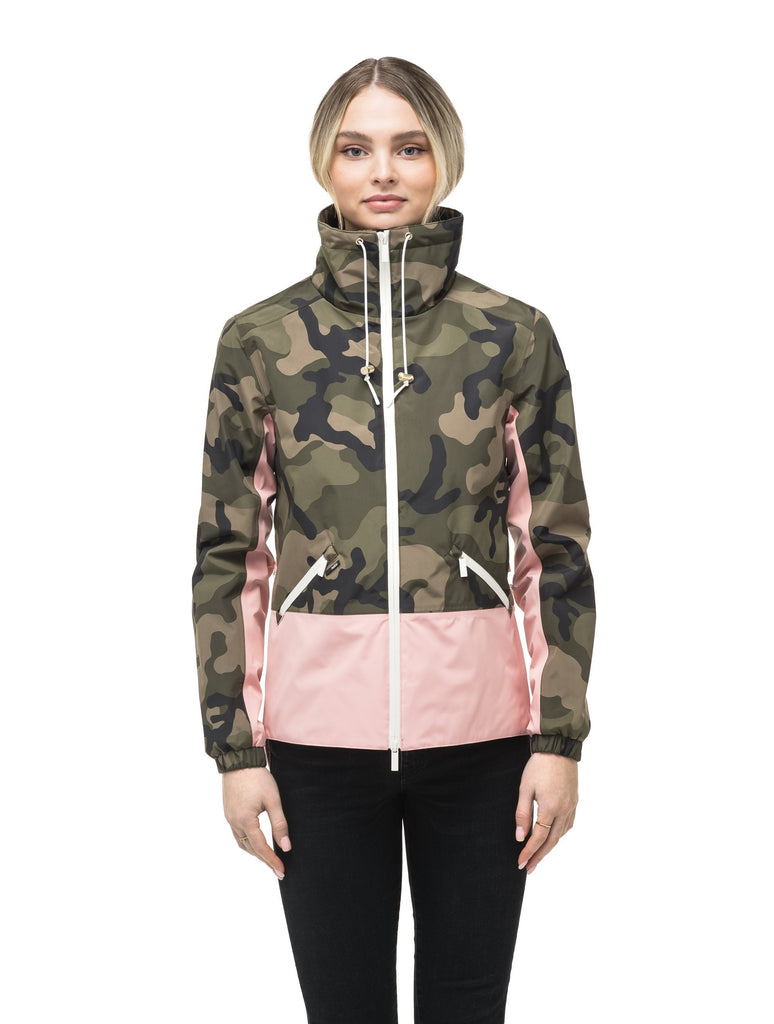 Leah waist length women's jacket in the Camo/Shell Pink color| color