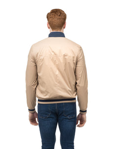 Men's lightweight taffeta bomber jacket with dark contrast trim in Fawn