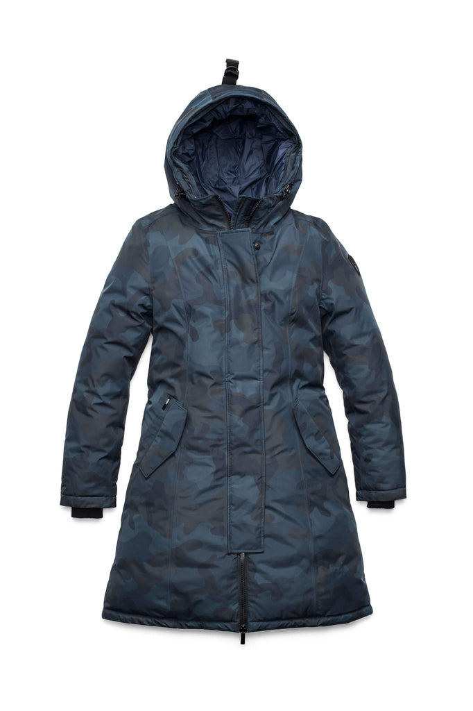 Ladies thigh length down-filled parka with non-removable hood in Navy Camo| color