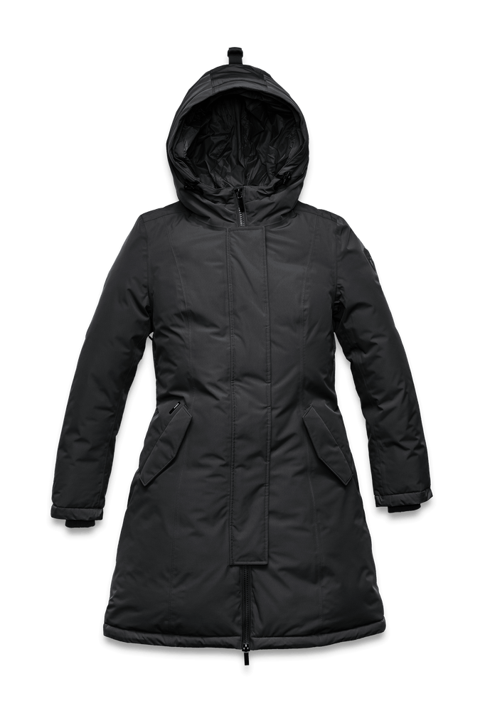 Ladies thigh length down-filled parka with non-removable hood in Black| color