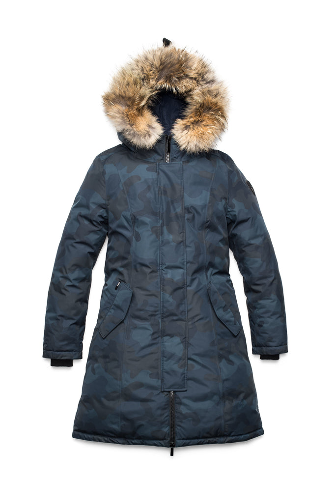 Ladies thigh length down-filled parka with non-removable hood and removable coyote fur trim in Navy Camo| color