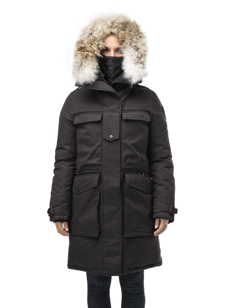 Women's extreme parka with our highest down filling and a removable down filled hood in H. Black| color