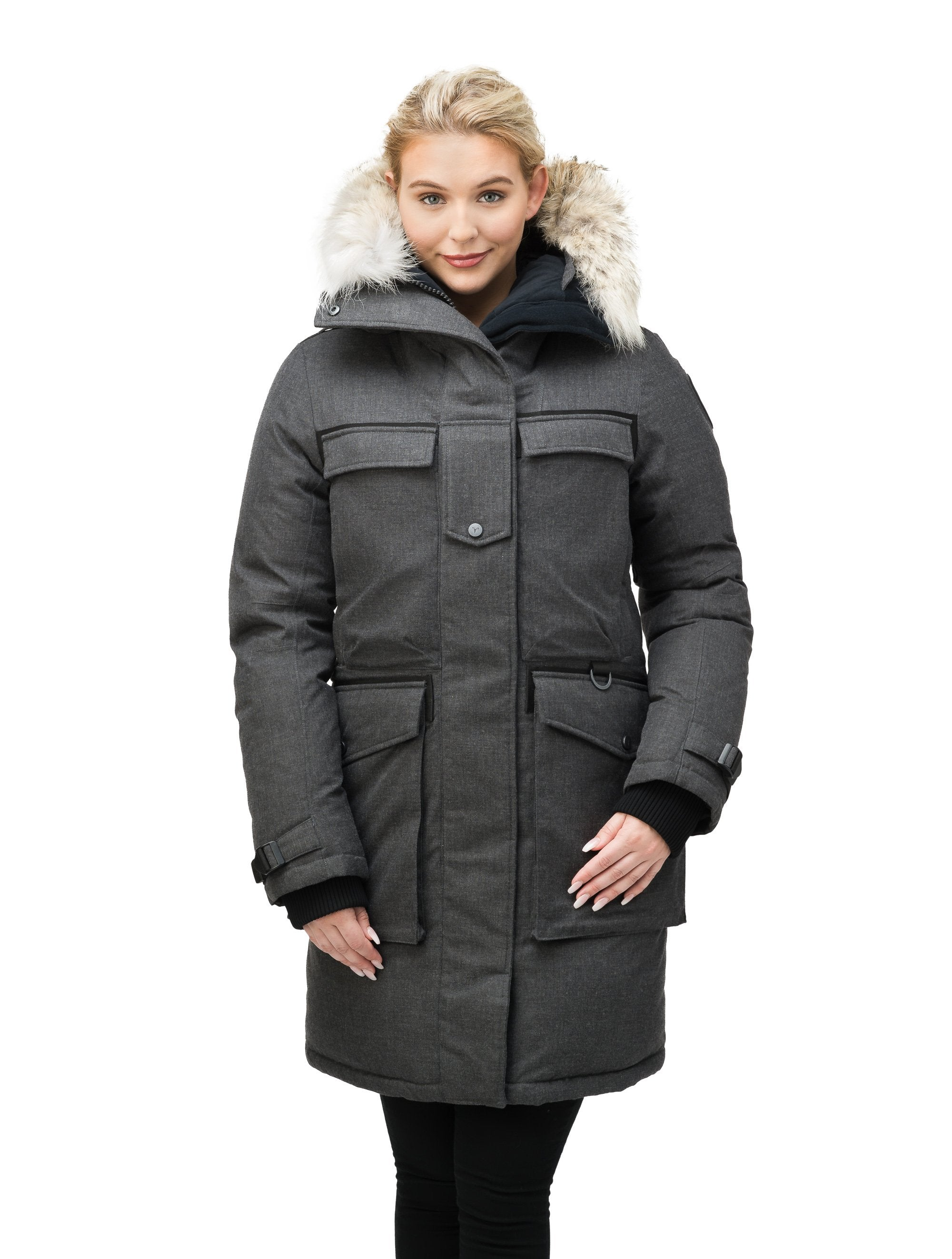 Women's extreme parka with our highest down filling and a removable down filled hood in H. Charcoal | color