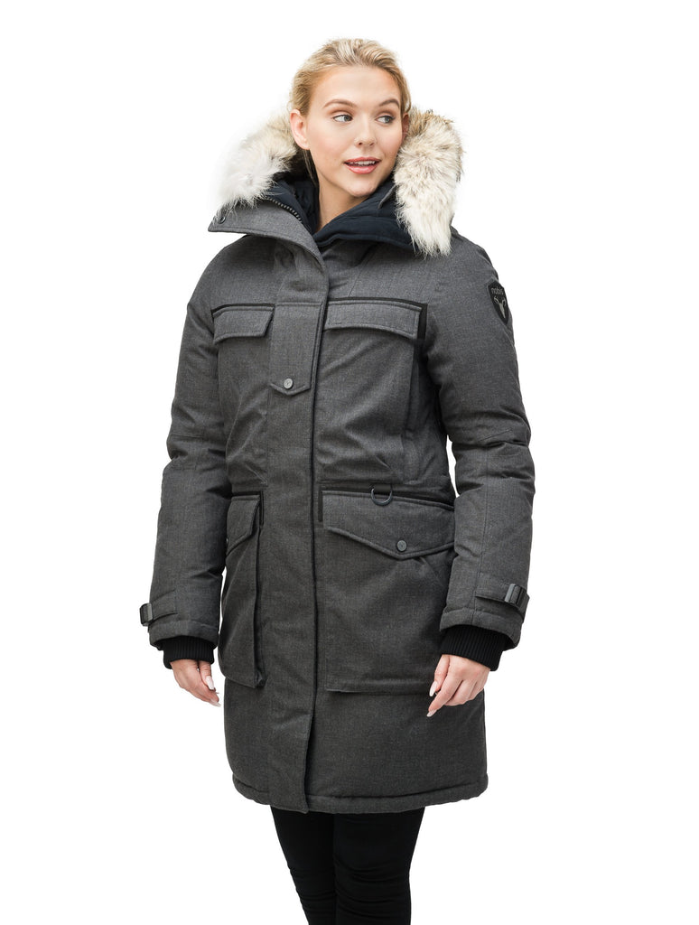 Women's extreme parka with our highest down filling and a removable down filled hood in H. Charcoal| color