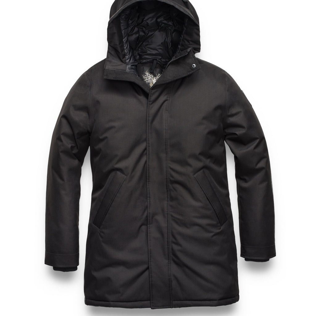 Men's lightweight knee length down filled parka in Black