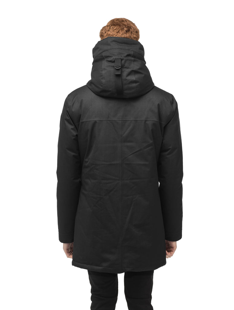 Men's lightweight thigh length down filled parka in Black| color