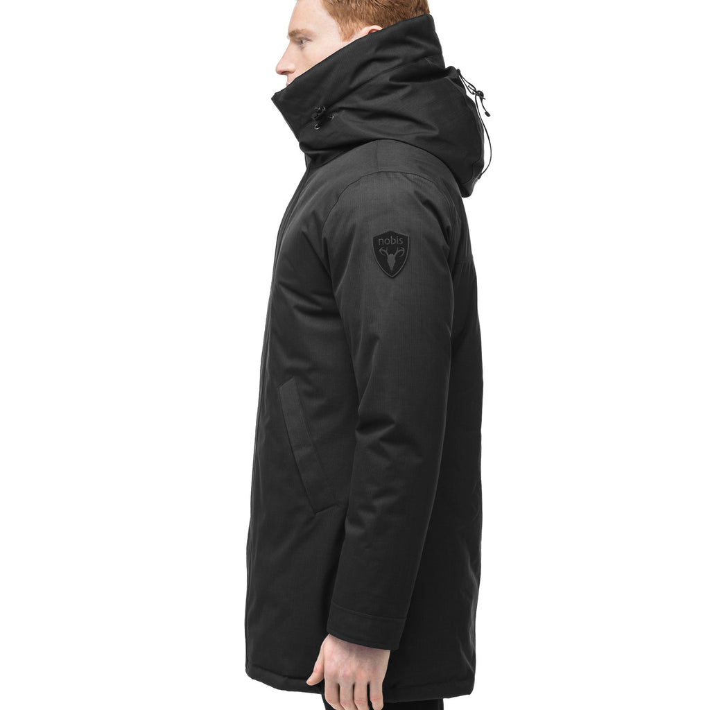 Men's lightweight thigh length down filled parka in Black | color