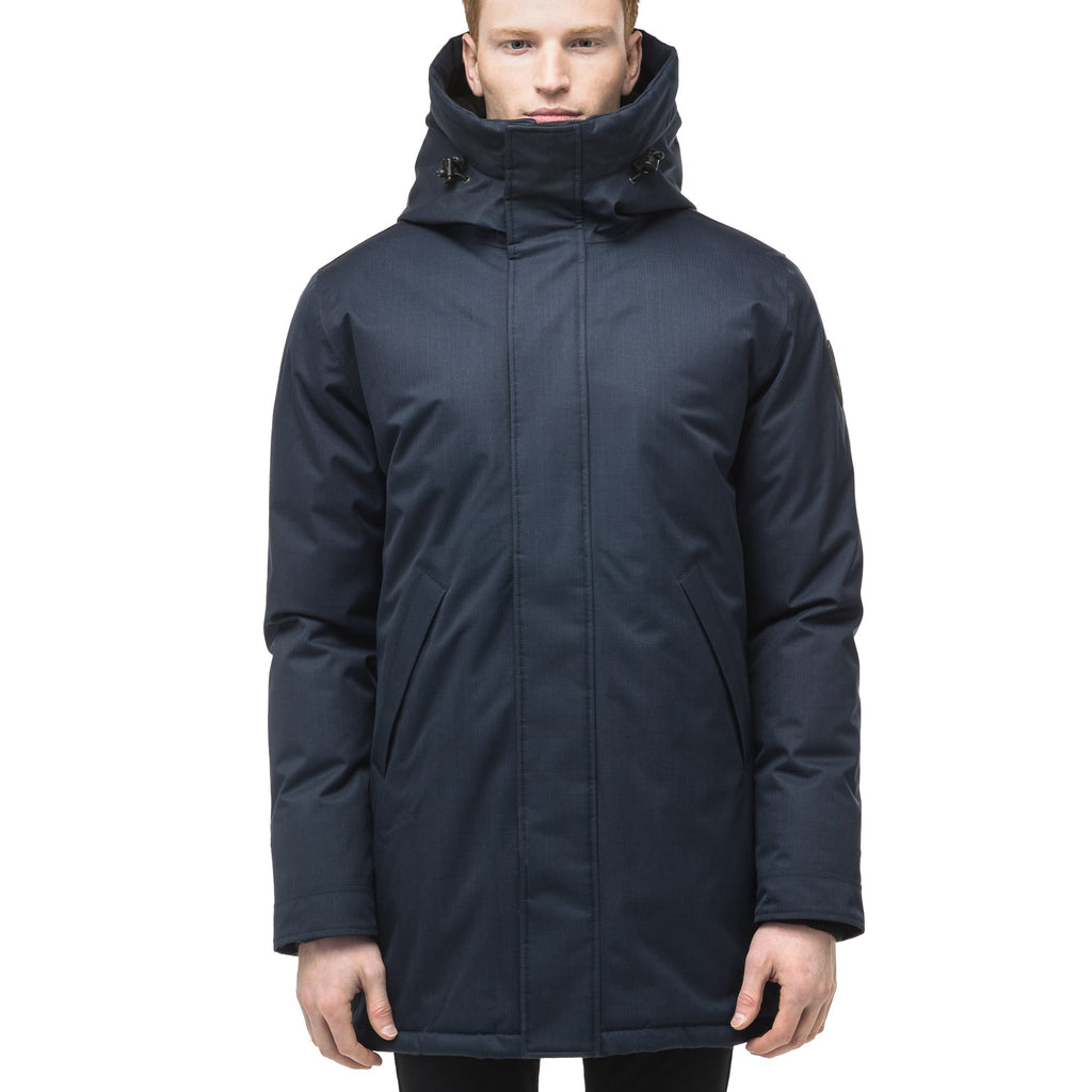 Men's lightweight thigh length down filled parka in Navy | color