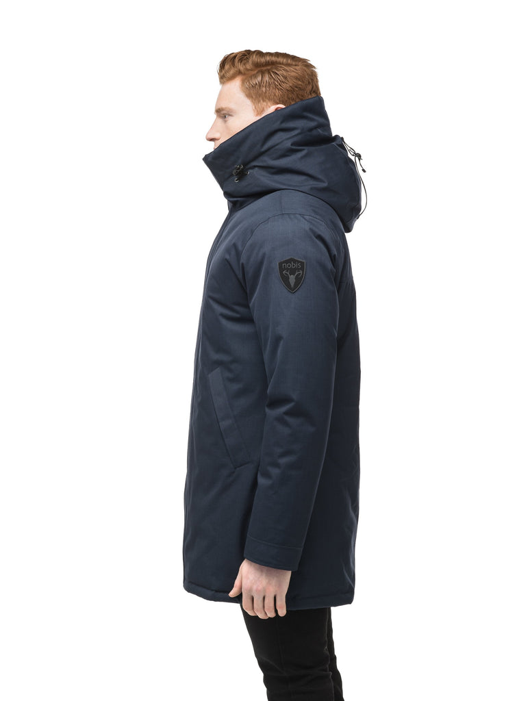 Men's lightweight thigh length down filled parka in Navy| color