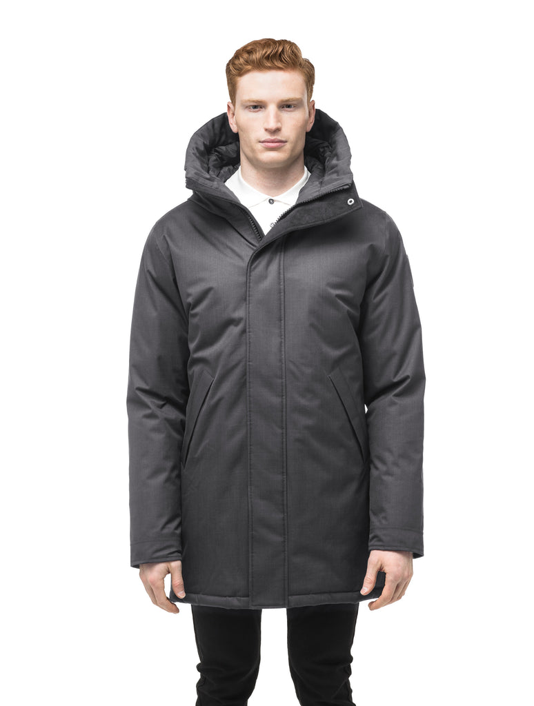 Men's lightweight thigh length down filled parka in Steel Grey| color