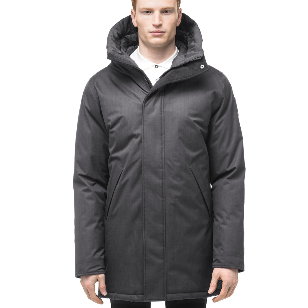 Men's lightweight thigh length down filled parka in Steel Grey | color