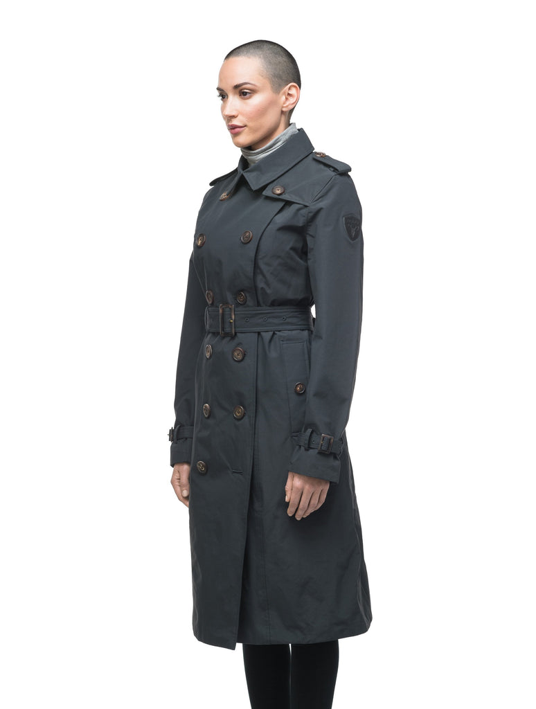 Women's knee length trench coat with removable belt in Black| color