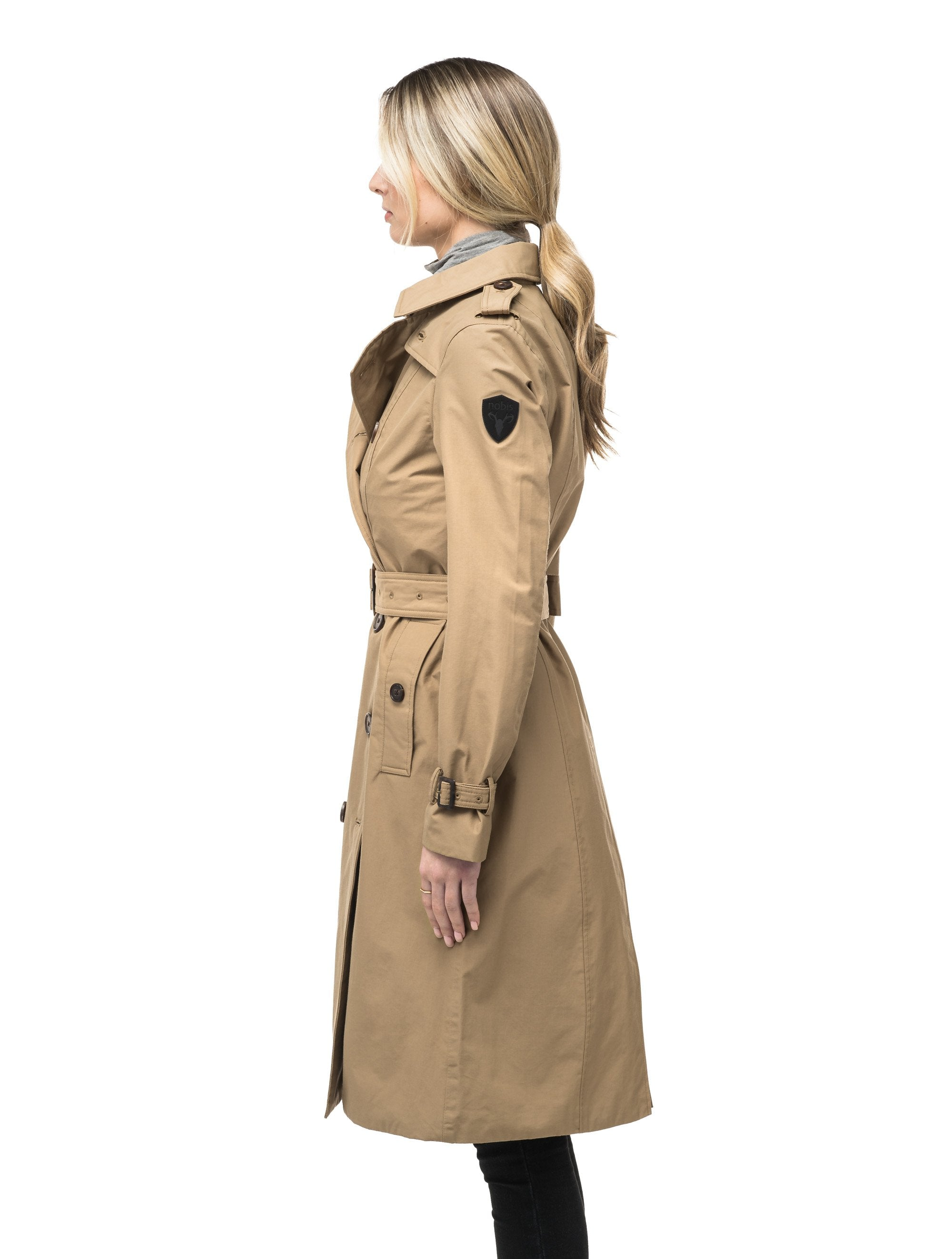 Women's knee length trench coat with removable belt in Cork | color