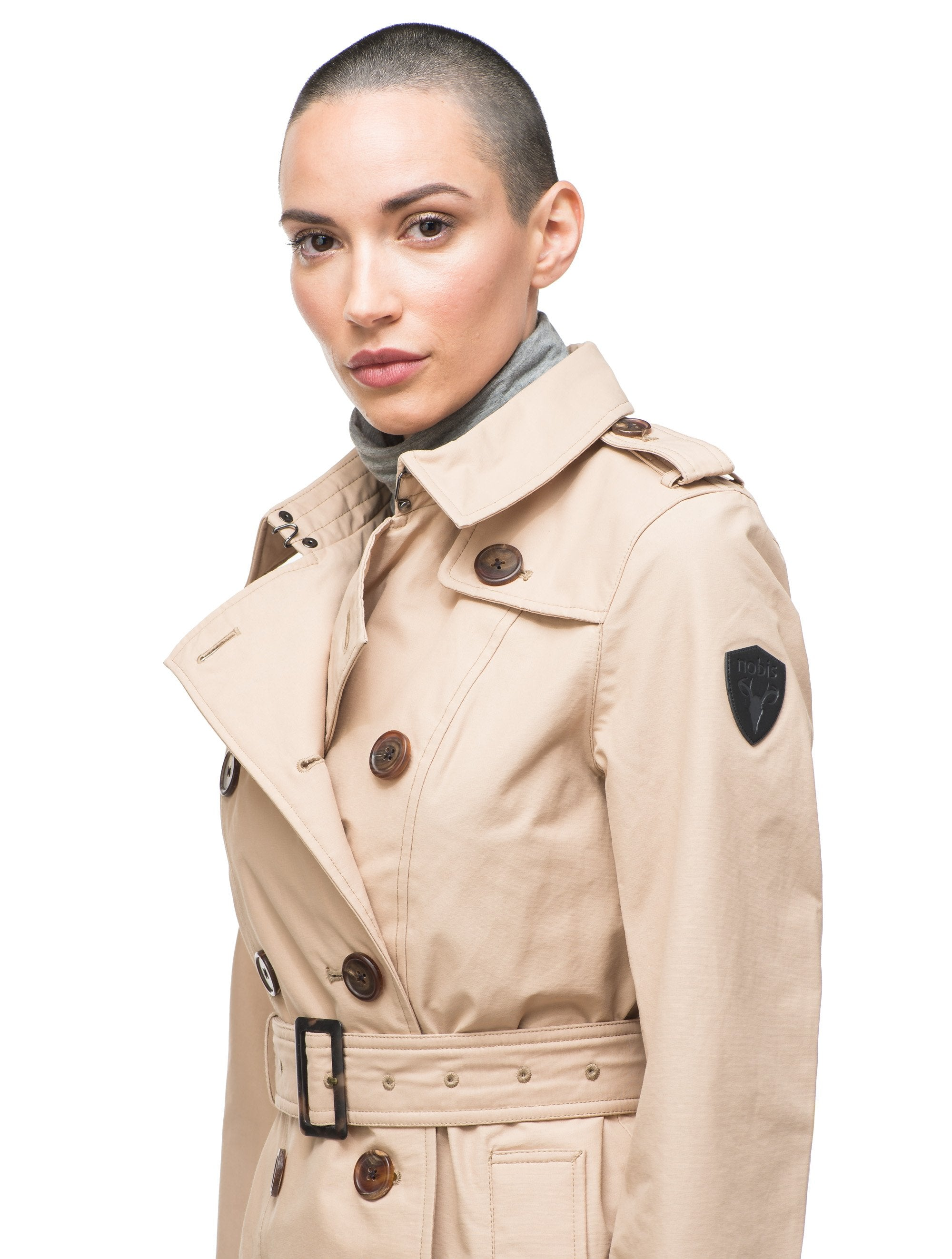 Women's knee length trench coat with removable belt in Fawn | color