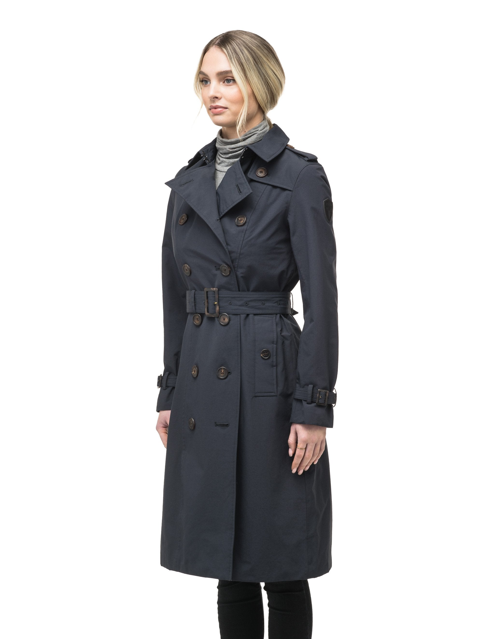 Women's knee length trench coat with removable belt in Navy | color