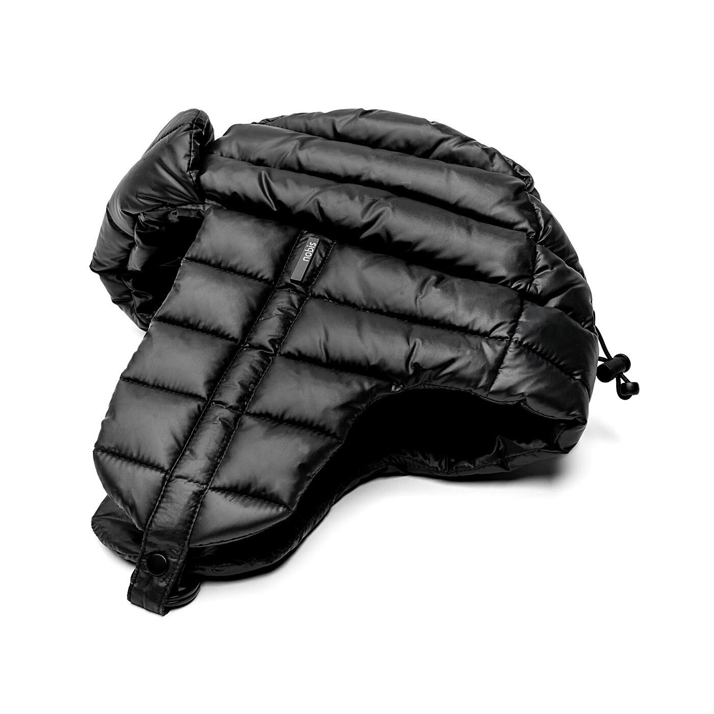 Unisex down-filled quilted fargo hat with adjustable chin strap in Black | color