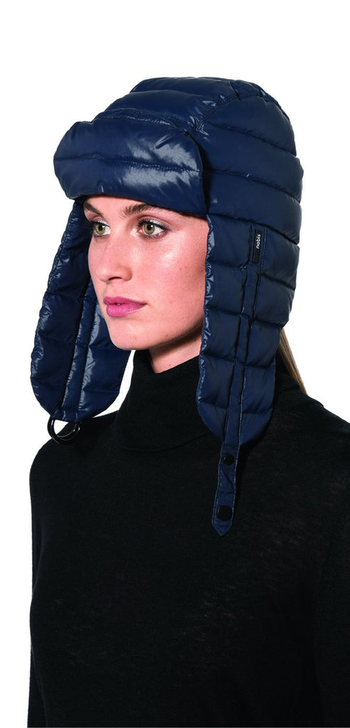 Unisex down-filled quilted fargo hat with adjustable chin strap in Marine| color