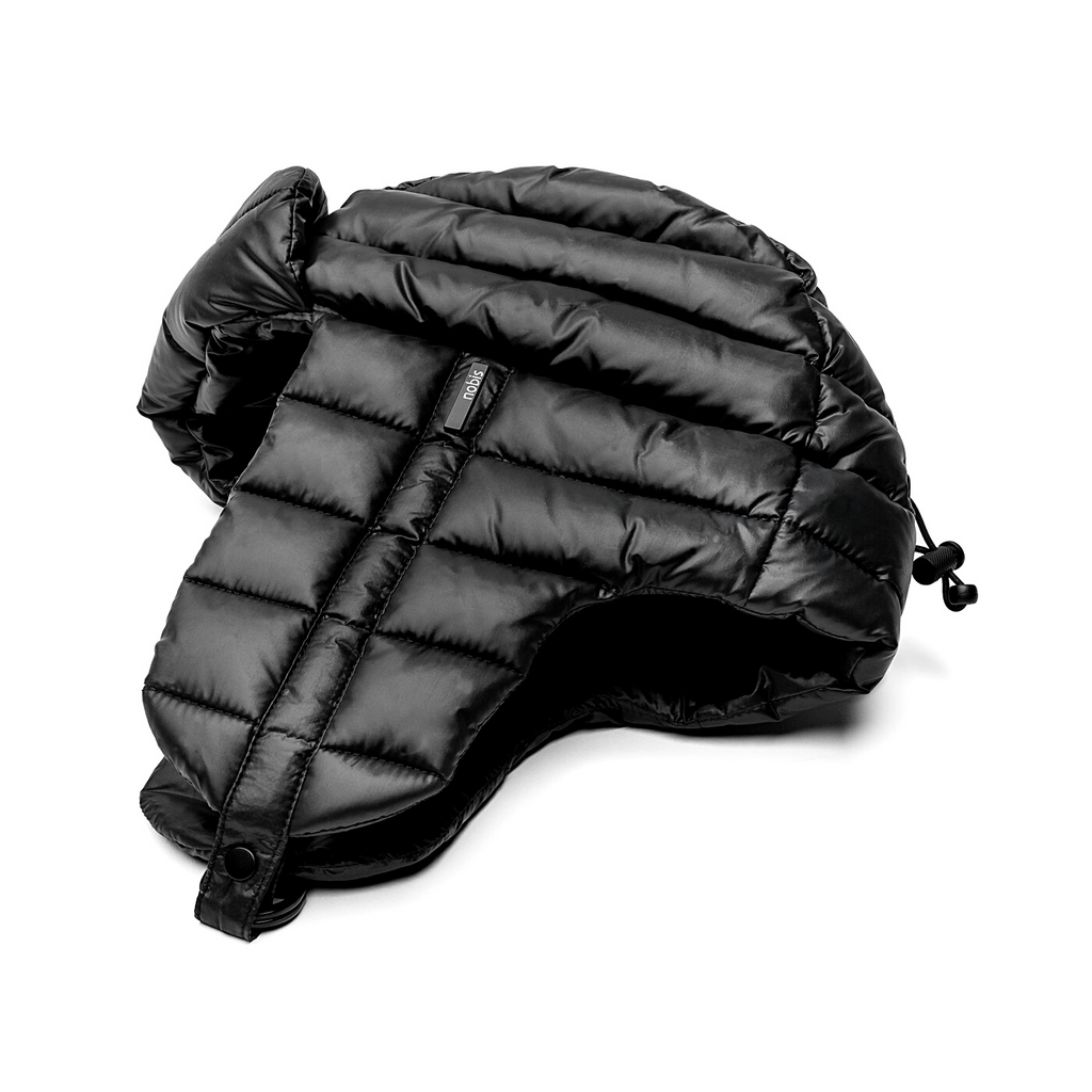 Unisex down-filled quilted fargo hat with adjustable chin strap in Black| color