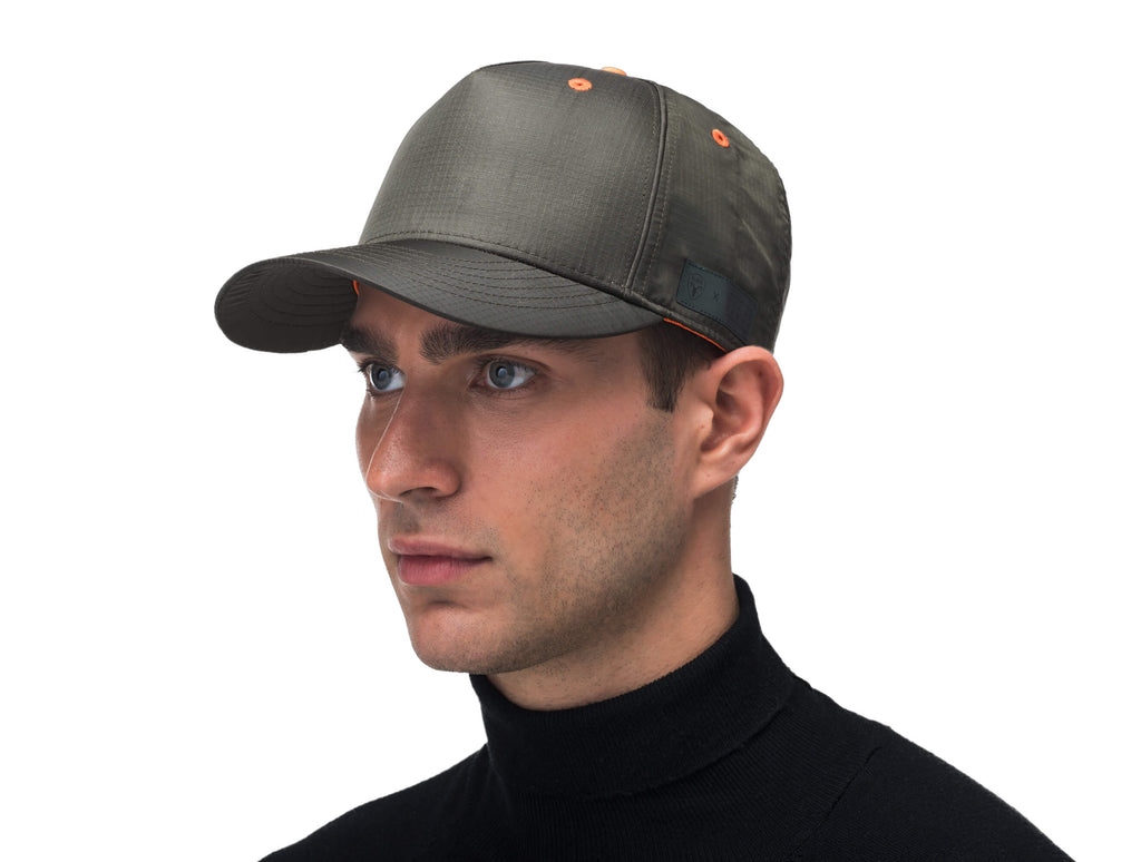 Unisex 5 panel baseball cap with adjustable back and contrast colour detailing in Dusty Olive| color